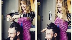 "What's a marriage without trust? Although Adam Levine's hair is a national treasure to some women, the handsome Voice coach recently entrusted his precious locks to his wife, Victoria's Secret Angel Behati Prinsloo. Scaring plenty of his fans, Behati Instagrammed this pic of her cutting off a sizeable chunk of the 36-year-old Maroon 5 frontman's combover on Wednesday, writing, ""Give me them scissors!"" To his credit, Adam looks pretty ecstatic about the big chop. PHOTOS: Biggest Celebrity…"