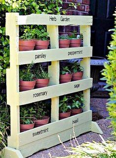 Transforming pallet boards into an herb garden planter.