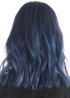 Blue Denim Hair Colors: Midnight to Midday Lob hair 50 Magically Blue Denim Hair Colors You Will Love Girl Blue Hair, Denim Blue Hair, Ombre Hair Color, Blonde Color, Hair Colors, Boy Blue, Blue Colors, Navy Blue Hair, Ombre Nail