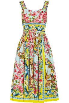 Printed cotton-poplin dress - so cheerful and flattering, I love this! Dolce & Gabbana