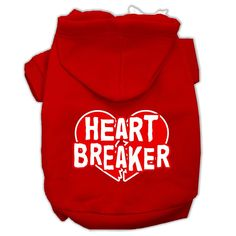 Heart Breaker Screen Print Pet Hoodies Red Size XXL (18)
