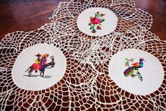 """Doilies set of 3, Vintage Needlepoint centered doilies, cottage chic decor, hand crocheted lace edging, hand made, 1950s, 9"""" round, by MAISONDELINGE on Etsy"""