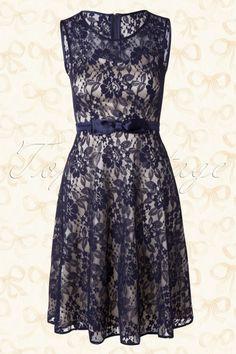 Fever Atrani Illusion Navy Blue Lace Dress 105 31 13943 03272015 04W