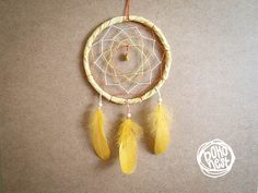Dream Catcher  Little Sunshine  With Yellow Feathers by bohonest, $19.00 #dream #catcher #decor #decoration #hippie #hipster #boho #native #american #indian #tribal #feather #feathers #home #bedroom #nursery #mobile #dreamer #unique #boho nest