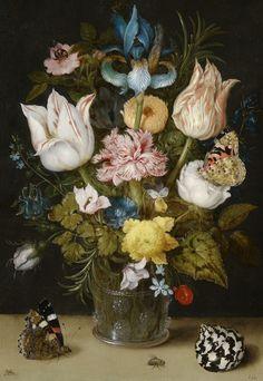 Ambrosius Bosschaert  the Elder (1573-1621) — Bouquet of Flowers in a Berkemeyer,  1612    :The Bijbels Museum,  Amsterdam. Netherlands   (1103x1600)