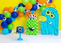 Our little Monster photo - Popsicle Balloon Mosaic template turned into cute monsters for birthday photoshoot. Halloween m - Monster First Birthday, First Birthday Balloons, Monster 1st Birthdays, 1st Birthday Photoshoot, Birthday Balloon Decorations, Monster Birthday Parties, Baby Boy First Birthday, First Birthdays, Monster Balloons