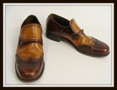 vintage Brown Tan Two Toned Wingtip Loafers Dress Shoes US size 10.5 by wardrobetheglobe, $60.00