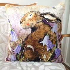 Hare And Harebells Cushion By Alex Clark - A Bentley Cushions Wonderful Things, Hare, Presents, Cushions, Tapestry, Throw Pillows, Classic, Gifts, Illustrations