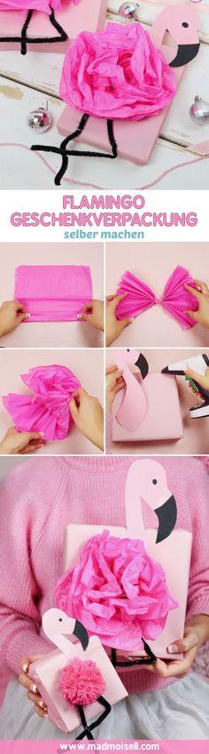 DIY Flamingo Geschenkverpackung basteln – Geschenke kreativ verpacken als Flamingo. Besonders zu Weihnachten macht es Spaß, Geschenke mal richtig ausgefallen zu verpacken – wie wär's als Flamingo? Auf meinem DIY Blog zeige ich dir drei ausgefallene Flamingo Geschenk Verpackungen.