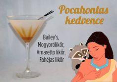 "Pocahontas's ""One With Nature"" Cocktail: Bailey's Irish Cream, Frangelico Hazelnut Liqueur, Disaronno Amaretto, & Goldshlager Cinnamon Schnapps. Disney Cocktails, Cocktail Disney, Disney Themed Drinks, Disney Mixed Drinks, Disney Alcoholic Drinks, Halloween Cocktails, Party Drinks, Cocktail Drinks, Fun Drinks"
