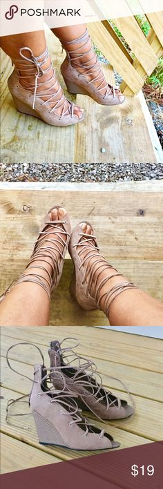 Qupid Lace Up Wedges! Stylish lace up wedges with flexible straps across top of foot and back zip! Like new condition!! **This size runs very exact** Qupid Shoes