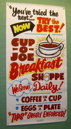 Breakfast Shoppe by Dad's Paper Signs: