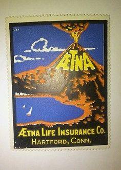 JM# Cinderella Poster stamp- AETNA Life Insurance Co. HARTFORD, CONN. Vintage