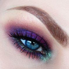 Deep purple and teal eyeshadow #eye #eyes #makeup #eyeshadow #winged #dramatic #dark