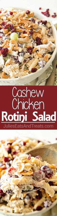 Cashew Chicken Rotini Salad ~ Loaded with Cashews, Grapes, Chicken, Pasta and Dried Cranberries! Perfect Pasta Salad Recipe for the Summer! ~ www.julieseatsand...
