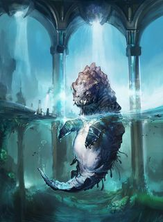 This is why I do not swim in water I cannot see the bottom of.  Someday I would like a sea monster friend.     Art of Tae young Choi