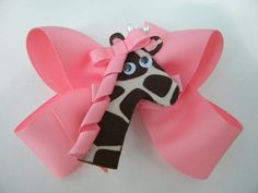 Take Me To The Zoo Pink Large Twisted Boutique Bow by bowtowne, $9.95