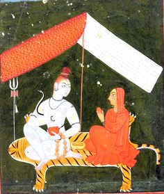 Shiva Parvati seated on tiger skin under a canopy, Basohli-Mankot Style, mid 18th century
