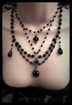 Gothic Necklace Victorian Collar Black Blue-Green Beaded Rosary Goth Jewelry