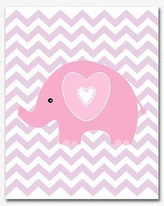 Rosa y púrpura elefante vivero arte grabado UNFRAMED de 8 x
