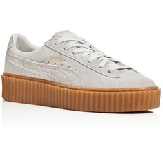 Puma by Rihanna Suede Creepers featuring polyvore, women's fashion, shoes, white creeper shoes, fleece-lined shoes, creeper shoes, puma shoes and puma footwear