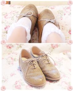.i love oxford style shoes with frilly ankle socks <3