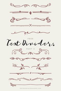 FREE Text Dividers – Part 2 - Designs By Miss Mandee. Lovely hand drawn elements for your next design. Use these dividers to dress up an invitation, poster, or even a meeting agenda! Bullet Journal Lettering Ideas, Bullet Journal Ideas Pages, Bullet Journal Inspiration, Draw Dividers, Hand Drawn Fonts, Free Hand Drawing, Creative Lettering, Free Text, Notes Design