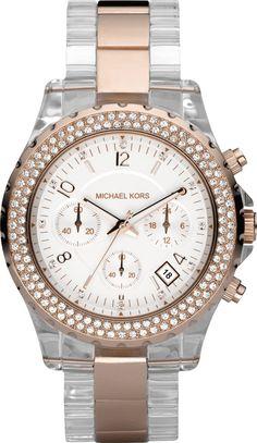 Michael Kors Michaël Kors - Reloj analógico de cuarzo para mujer con correa de plástico, color transparente: Amazon.es: Relojes