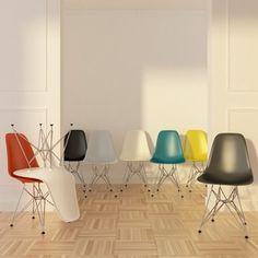 Charles en Ray Eames: DSR Dining Chairs De wereldvermaarde stoelen van het Amerikaanse ontwerpersduo Charles en Ray Eames staan al jaren symbool voor topdesign. Het grote publiek maakte kennis met de DSR Dining Chair in 1948, toen het eerste ontwerp werd gepresenteerd op een low-cost-furniture-wedstrijd in het New Yorkse Museum of Modern Art (MoMA). De symbiose van eenvoud en klasse trok meteen alle aandacht en is tot op vandaag nog maar zelden geëvenaard.