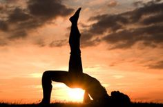 Silhouette at the sunset and YOGA..