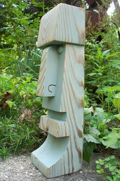 Outdoor Sculpture, Wood Sculpture, Sculptures, Diy Wood Projects, Wood Crafts, Woodworking Projects, Tiki Art, Tiki Tiki, Chainsaw Wood Carving