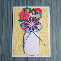 Mason Jar bouquet card-Greeting cardsMother's Day