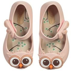 Mini Melissa - Girls Pale Pink Owl Shoes | Childrensalon