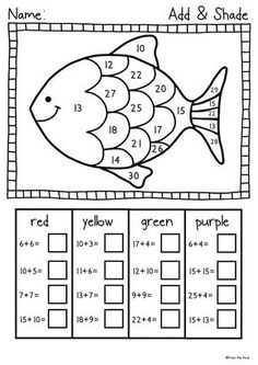 Summer Reach for the Beach - Fun Printables Pack This is a collection of 21 fun . Kindergarten Math Worksheets, Teaching Math, Math Activities, Grade 1 Worksheets, Worksheets For Preschoolers, Rainbow Fish Activities, Math Coloring Worksheets, Teaching Geography, Addition Worksheets
