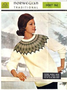 Image of Norwegian Fair Isle Sweater Vintage 1960's Knitting Pattern