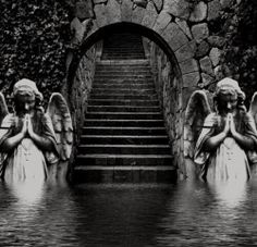 Stairway To Heaven Quotes. Abandoned Castles, Abandoned Mansions, Abandoned Buildings, Abandoned Places, Statue Ange, Angel Statues, Fairy Statues, Garden Statues, Haunted Places