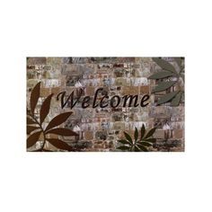 18 in. x 30 in. Welcome Palms Outdoor Rubber Entrance Mat, Grays/Browns/Greens/Beiges