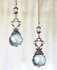 The Lakeside Collection Set of 2 Vintage Jeweled Fan Pulls (Blue) Beautiful jeweled fan pull extends your reach Instantly adds style to a room x Polyresin and metal Ceiling Fan Pull Chain, Ceiling Fan Pulls, Ceiling Fans, Wire Crafts, Jewelry Crafts, Paisley Quilt, Blue Amber, Hanging Crystals, Lakeside Collection