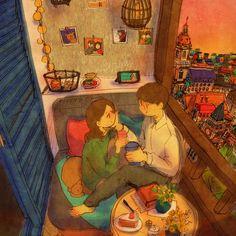 예쁘다 (Pretty) by 퍼엉 on Grafolio Love Cartoon Couple, Cute Couple Art, Cute Couples, Love Is Sweet, Cute Love, Couple Illustration, Illustration Art, Puuung Love Is, Couple Drawings