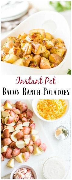 Ranch Potatoes in Pressure Cooker Bacon ranch potatoes in less than 30 minutes! AND only 4 main ingredients and ranch potatoes in less than 30 minutes! AND only 4 main ingredients and Instant Recipes, Instant Pot Dinner Recipes, Free Recipes, Keto Recipes, Tuna Recipes, Ketogenic Recipes, Turkey Recipes, Healthy Recipes, Poulet Hasselback