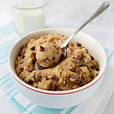 Eggless Cookie Dough - 1 cup rice or GF flour, 1/4 cup butter (or vegan margarine) 3/4 cup brown sugar, 1/4 tsp. vanilla , pinch of salt, 1/4 cup milk of choice, 1/2 cup chocolate chips