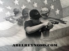There is a time for a every thing that is why professionals train. Original graphite pencil drawing by Abel Reynoso.  #guns #shooters #soldiers #SWAT #army #rifle #pistols #police #us flag #shotgun #tactical art #military art military # law enforcement