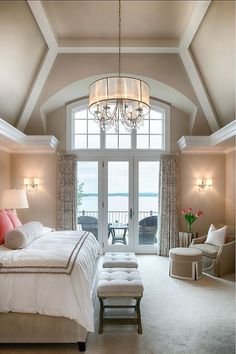 Dream bedroom! Love the neutrals and soft lighting and big windows and the ceiling.