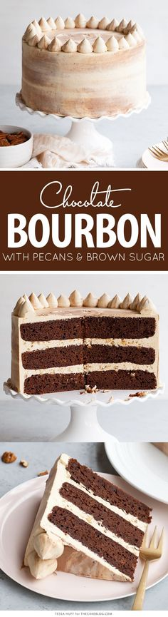 Chocolate Bourbon Pecan Cake - chocolatey cake with brown sugar buttercream infused with bourbon and pecans. Cupcake Recipes, Baking Recipes, Cupcake Cakes, Dessert Recipes, Cake Cookies, Cookies Vegan, Dessert Ideas, Strawberry Cheesecake Bites, Chocolate Bourbon