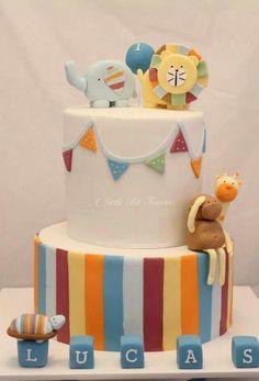 Orange, Yellow, Green & Blue Stripes and Bunting Zoo Animal Cake (Lucas)