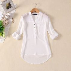 Womens Spring Summer V-neck Chiffon Long Sleeve Casual elegant Shirt Blouse Tops Chiffon Shirt, Chiffon Tops, White Chiffon, Sheer Chiffon, White Cotton, Blouse Styles, Blouse Designs, Spring Shirts, Shirt Blouses