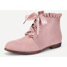SheIn(sheinside) Lace Up Lettuce Trim Flat Boots ($39) ❤ liked on Polyvore featuring shoes, boots, pink boots, pink shoes, flat lace-up shoes, flat boots and laced up shoes