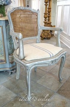 Vintage Furniture A French Cane Chair Redo Cane Chair, Furniture, Repurposed Furniture, French Furniture, Vintage Chairs, Home Furniture, Painted Furniture, Dining Chair Design, Chair Redo