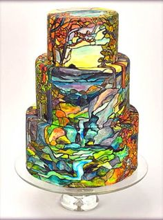 Stained glass waterfall cake...