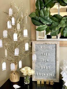 Wishing Tree from a Rustic Elegant Farmhouse Baby Shower on Kara's Party Ideas | KarasPartyIdeas.com